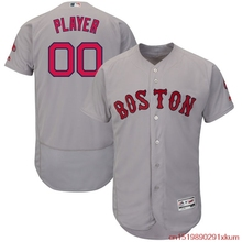MLB Men's Boston Red Sox Baseball Road Gray Alternate Navy Flex Base Authentic Collection Custom Jersey(China)