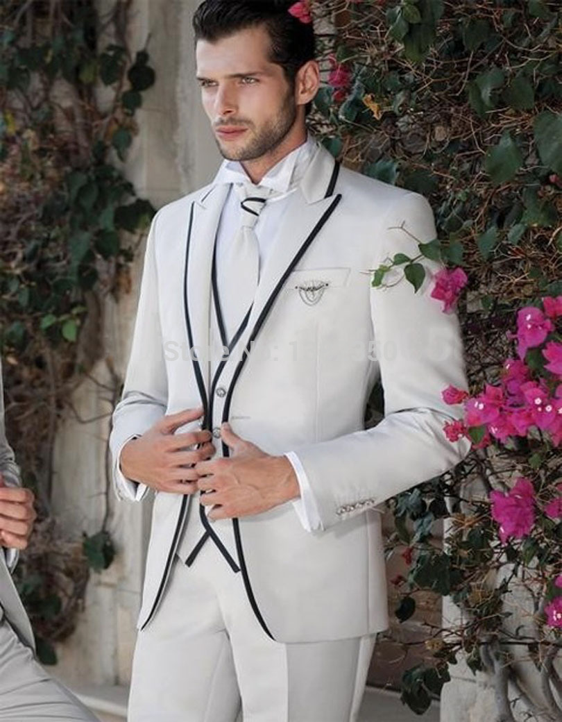 2018 Gentleman Style White Jacket With Black Vent Side Groom Suit Formal Wedding Groomsman Tuxedos For Men Jacket Pants Vest
