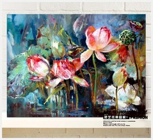 Painted high-quality ( Lotus ) canvas art gallery set oil on canvas, modern home decorative murals, knife painting quadros decor(China)