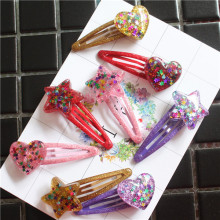 2 PCS Lovely Shining Star Heart-shaped BB Clips Girls Hair Accessories Kids Hairpins Children Headwear Baby Hair Clips Headdress(China)