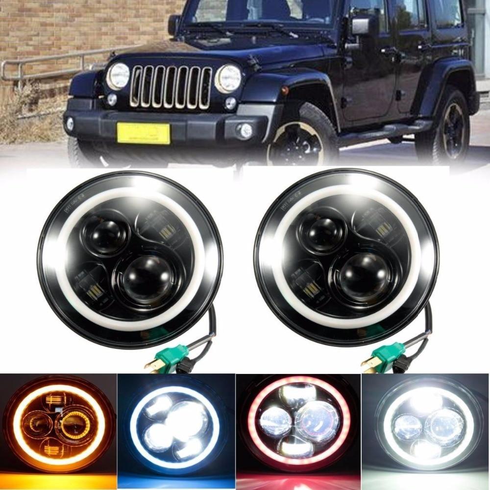 2 pcs 7inch LED Halo Ring headlights Kit 7 led Off road lights DRL Turn signal FOR Jeep 97-15 Wrangler JK CJ TJ Hummer<br><br>Aliexpress