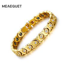 Meaeguet 8.5mm Wide Hematite Bracelet With Cubic Zirconia For Women Gold-Color Stainless steel X Shape Therapy Bracelets Jewelry(China)