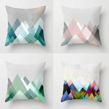 New Arrival Color Triangle Pillow Geometric Print Cojines Yellow Geometric Decorative Short Plush Soft Cushion