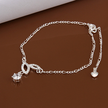 Wholesale 925 sterling Silver Anklets,925 Silver Fashion Jewelry,Elegant Rhinestone water drop Anklets for Women A011