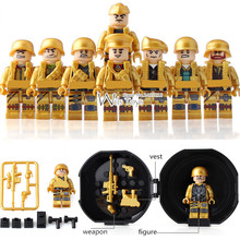 8pcs Golden Soldier MILITARY Weapon Army WW2 SWAT Special Forces navy Building Blocks Bricks Figures display box Toys Boys Gift