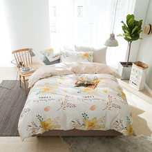 100% Cotton Bedding Set Orange Flower Printing Duvet Cover Pillowcase Bed Sheet Home Queen King Size Bedding Set(China)
