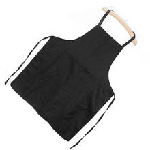Men Women Waiter Aprons With Pockets for Restaurant Kitchen Cooking Shop Art Work Baker Chef Black Polyester Aprons(China)