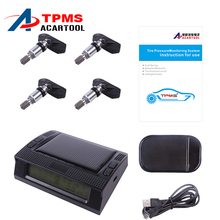 Tire Pressure Monitor External Sensor Solar Energy TPMS with LED Display Screen Car Alarm Systems