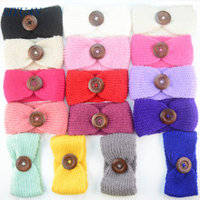 Wholesale 100pcs/lot Crochet Woolen Yarn Headband with Vintage Button Knitted Girl Headwrap Newborn Hair Accessories FD221(China)
