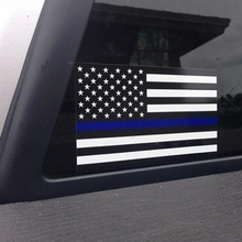 1PCS Police Officer Thin Blue Line American Flag Vinyl Decal Car Sticker