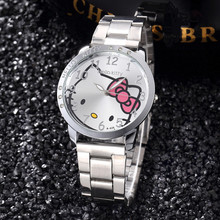 Hello Kitty Girls Bracelet Watch Luxury Diamond Female Business Wristwatches Stainless Steel Kids Cartoon Dress Clock Bayan Saat(China)