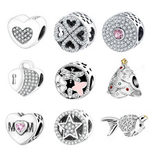 925 Silver Charm Bead Fit Original Pandora Charms Bracelets With Clear Cubic Zirconia DIY 2017 Winter Style Authentic Berloque(China)