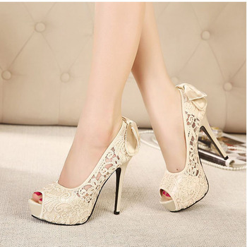 High Heels Sexy Peep Toe Lace Party Shoes Crystal Hollow Platform Bowtie Pump