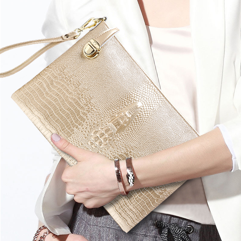 Women Gold Clutch Bag Leather Handbags Crocodile Pattern Single Shoulder Crossbody Bags For Women Large Capacity Bolsos Mujer<br>