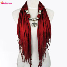 AOLOSHOW Women Scarf necklace with Silver Jewelry Heart bead charm pendant scarves ashion scarf for women female scarf NL-1802(China)