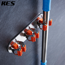KES 3M Self Adhesive Mop and Broom Holder Stick On Sticky Garage Storage Wall Organizer Brushed Stainless Steel 3 Position