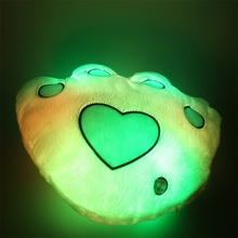 Hot! OCDAY LED Light Play Music Pillow Bear Claw Paw Plush Stuffed Toys Children Adult Battery Powered Kids Baby Birthday Gifts(China)