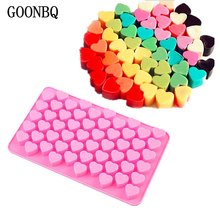 GOONBQ 1 pc 55 Holes Small Heart Chocolate Mold Silicone 3D  Heart Shape Fondant Cake Mold Ice Cube Craft Cake Decoration Tool