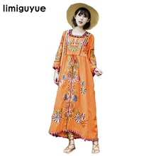 High Quality New Women Vintage Ethnic Flower Embroidered Cotton Tunic Long Dress Hippie Boho People Loose dress Mexican N357(China)