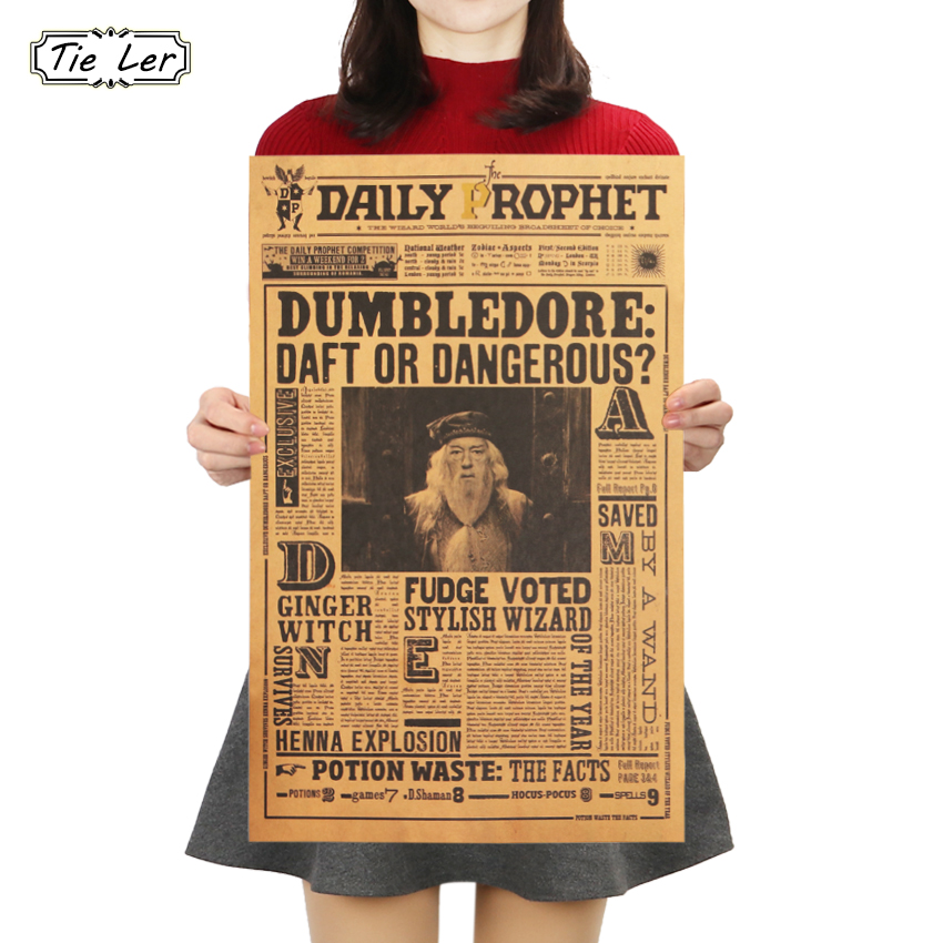 TIE LER Classic Movie Kraft Paper Poster Harry Potter Albus Dumbledore Wall Sticker Bar Cafe Decorative Painting 42.5X27cm(China)