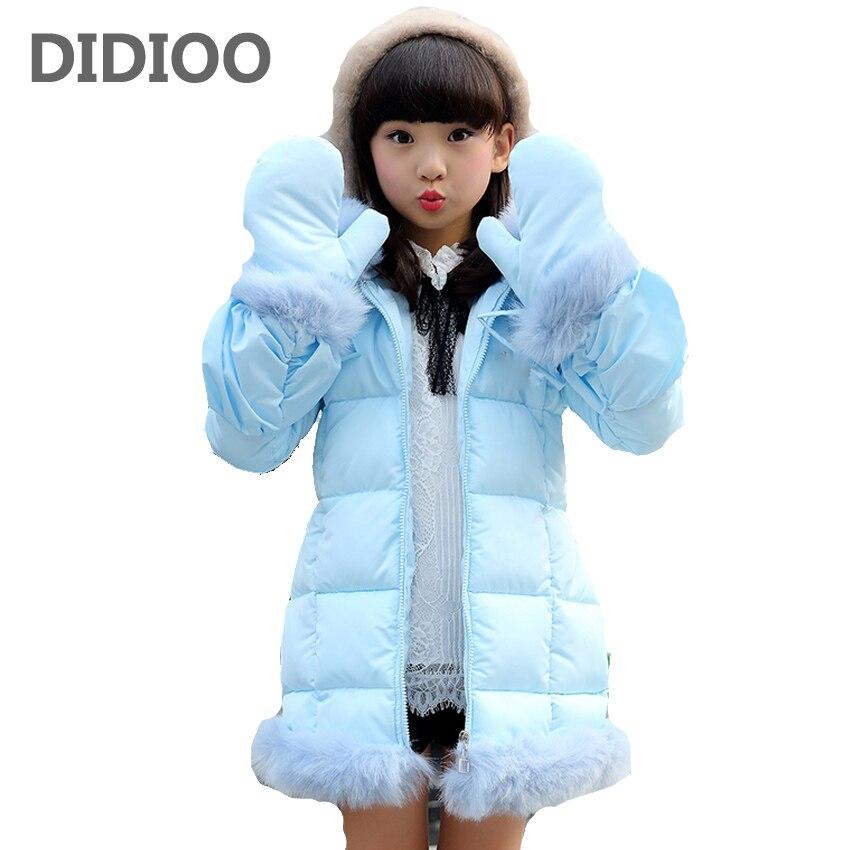 Children Outerwear Girls Warm Coats for Kids Hooded Parkas Baby Cotton-padded Clothes Girls Solid Fluffy Coats 7 8 9 10 12 YearsÎäåæäà è àêñåññóàðû<br><br>