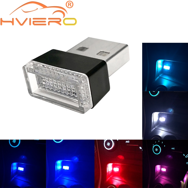Hviero Car USB LED Atmosphere Lights Decorative Lamp Emergency Lighting Universal PC Portable Plug and Play Red Blue White