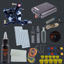 Starter Tattoo Kit 1 Machine Guns 1 Ink Power Sets Accesories Beginner Permanent Makeup Pen Complete Tattoo Supply Kit