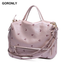 GORONLY Brand Leather Floral Women Handbags Female Designer Large Shoulder Messenger Bags Fashion Ladies Cherry Purses Bolsas