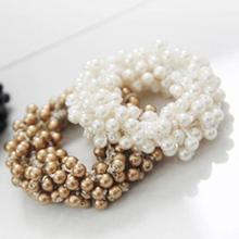 Trendy Craft Woven Beaded Elastic Hair Band Pearl Head Rope Ponytail Holder For Women And Girls Accessories