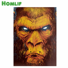 HOMLF Full diamond painting Gorilla diamond cross stitch crystal round diamond sets needlework Plastic Crafts(China)