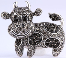 Cow stretch ring for women girls W crystal antique gold & silver color wholesale dropship