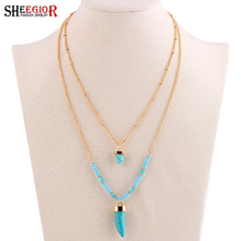 SHEEGIOR Bohemia 2 Layers Gold Color Anime Turquoises Pendant Necklaces Lovely Long Bead Chain Statement Necklace for Women Gift