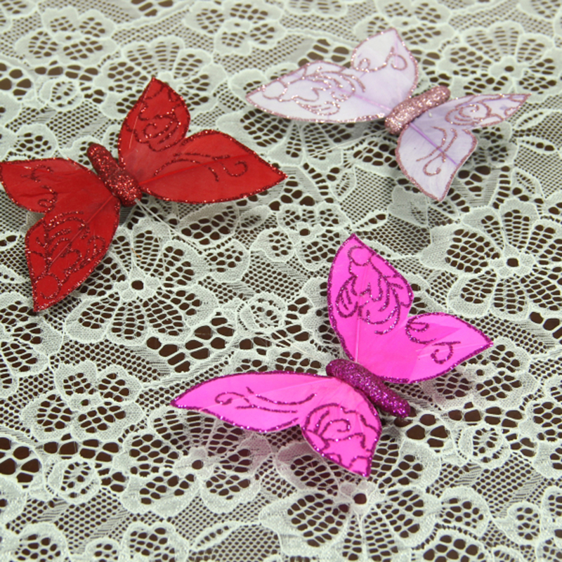 10pcs/lot 10*7cm Colorful Feather Butterfly Clip DIY Decoration Christmas Party Supplies Home Decor Decoration Wedding A075(China (Mainland))