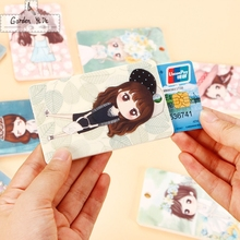 2016 cute little girl PVC Credit Card Holder Keyring Key Chain Sleeve Set Bus Card Case Bag Birthday Gifts PT0419