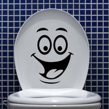 1Pc Smile face Toilet stickers DIY Personalized Furniture Decoration Plane Wall Decals Fridge Washing Machine Bathroom Sticker