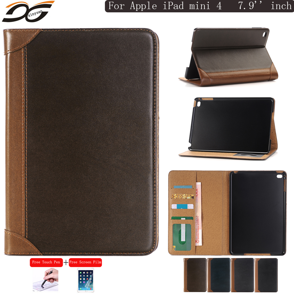 Book Design Style Series Leather Case Cover for iPad mini 4 Folding Stand Holder Case Cover with Cash Card Wallet Slots Pocket<br><br>Aliexpress