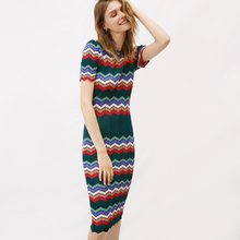 Italy Knitted Fashion Style, 2017 Summer New Arrival, Thin Paragraph of Ice Linen, Hollow Stripe, Round Neck, Slim Knit Dress