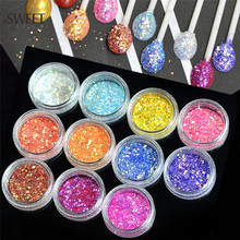 1pcs Colorful Dazzling Laser 3D Rhombus Glitter Shape Sequins Powder Nail Art Acrylic Holographic Nail Art Tips Decor LANC342(China)
