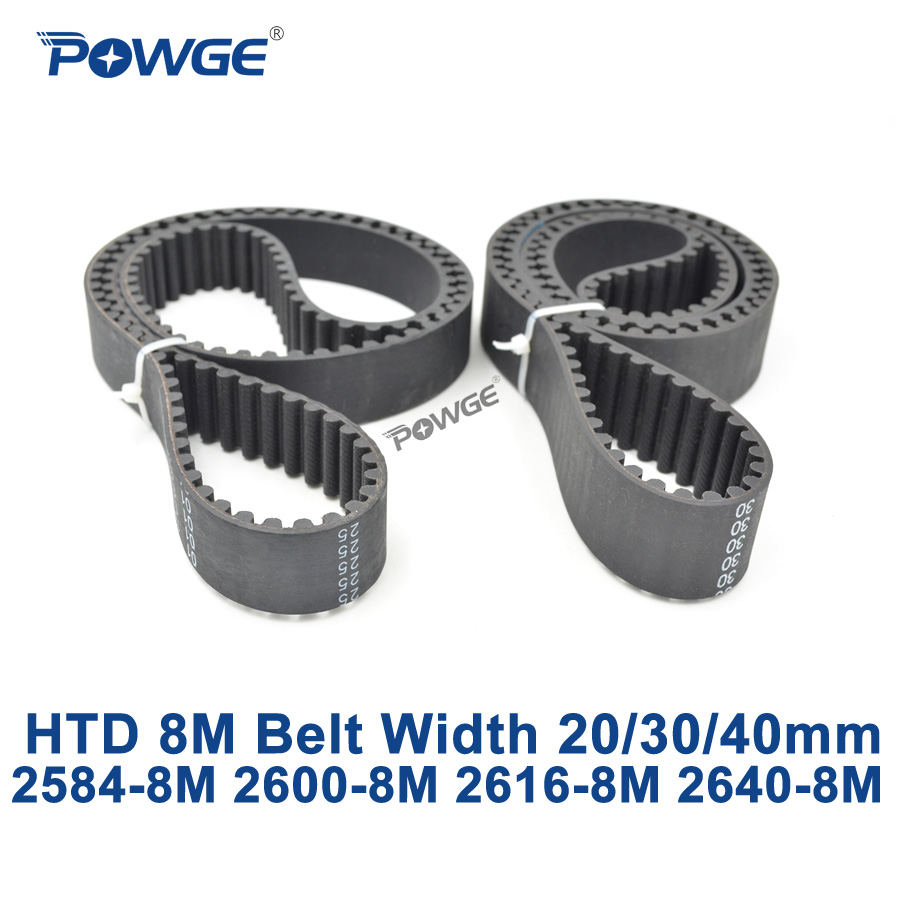 POWGE HTD 8M synchronous Timing belt C=2584/2600/2616/2640 width 20/30/40mm Teeth 323 325 327 330 HTD8M 2584-8M 2600-8M 2640-8M<br>