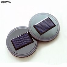 2pcs Solar Cup Holder Bottom Pad LED Light Cover Trim Atmosphere Lamp For car(China)