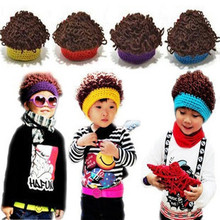 baby hats Autumn and winter explosion models men tide children baby wig cap wool knit hat cap wholesale curls
