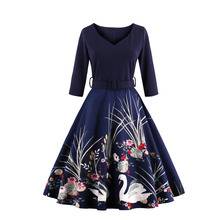 Women Swan Water Lily Print Seven Sleeve Retro Dress Autumn Summer Spring V-neck Large Dress with Belt S-4XL