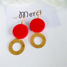 The temperament of restoring ancient ways is the European original log circular geometric simple fashion red earrings earrings(China)
