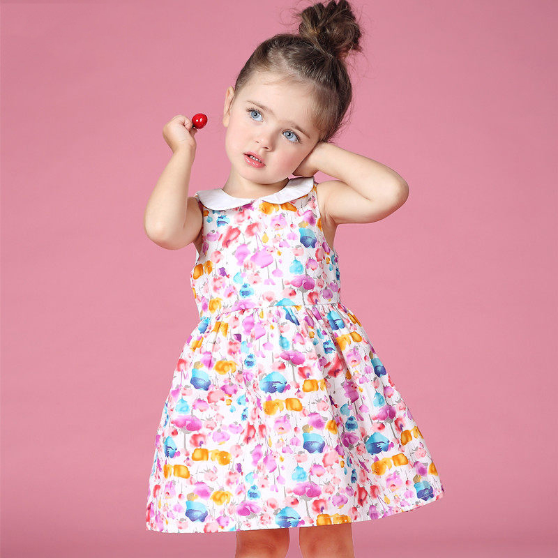 2016 Summer Baby Girl Peter Pan Collar Dresses for New Born Baby Clothes age 2 3 4 5 6 7 8T Years Old Baby Girls Frock Design<br>