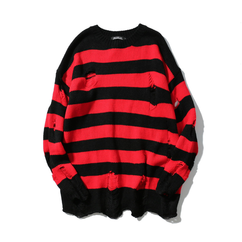 Mens Ripped Holes Sweater autumn retro Vintage oversized striped sweater high quality Loose Cotton Casual men Pullovers sweater