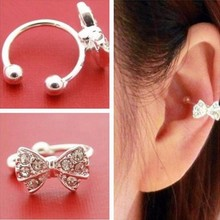 TOMTOSH 1 pc Punk Rhinestone Bow Knot Ear Clips Cuff Wrap Earring Brincos No Piercing Cartilage Clip On Earrings For Women Girls