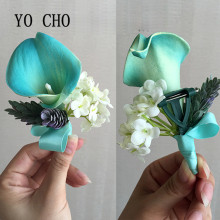 YO CHO Tiffany Blue Pu Calla Lily Boutonniere Purple Wedding Corsage Groom Best Man Prom Party Quinceanera Graduation Floral(China)
