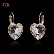 Top Quality 2017 Hottest Gold Color Made Blue Austria Crystal Heart Drop Long Jewelry Earrings For Women And Girls,Wholesale