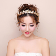 New Gold Color Leaves Crowns Headpieces Simulated Pearls Bridal Bridesmaid Wedding Headwear Prom Hair Jewelry Tiaras Hairbands