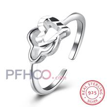 Ann & Snow 2017 Summer Collection 925 Sterling Silver Heart to Heart Open Ring Double Heart Fine Jewelry for Women SVR103